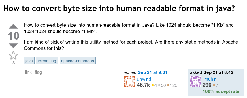 How to convert byte size into human-readable format in Java? Like 1024 should become '1 Kb' and 1024*1024 should become '1 Mb'.